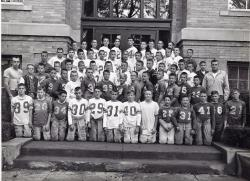 7th & 8th grade football team Sept 1962, ​submitted by Ron June; Front row kneeling L-R:  Don Ballard, Dick Neilson, B